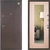 входная дверь бульдорс 27 с зеркалом беленый дуб