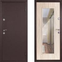 Входная металлическая дверь Дверной Континент Элегия с зеркалом  Беленый дуб