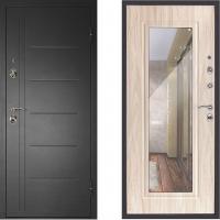 Металлическая дверь Дверной Континент Сити с зеркалом бел дуб