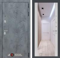 дверь лабиринт бетон с зеркалом сандал белый