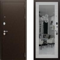 Входная металлическая дверь АСД модель Спартак с зеркалом Акация светлая