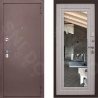 Входная металлическая дверь с зеркалом Снедо Патриот Лиственница белёная