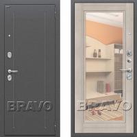 Входная дверь Bravo Optimal flesh с зеркалом Капучино 3 контура