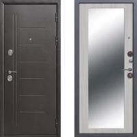Входная металлическая дверь Атлант с зеркалом Макси Беленый Дуб  3 контура