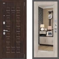 Входная металлическая дверь с зеркалом Bravo Optimal urban с зеркалом Капучино 3 контура