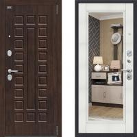 Входная металлическая дверь с зеркалом Bravo Optimal urban Бьянка Вералинга 3 контура