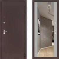 Входная металлическая дверь Labirint Classic медь с зеркалом макси Софт Грей