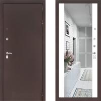 Входная металлическая дверь Labirint Classic медь с зеркалом макси Белый Софт