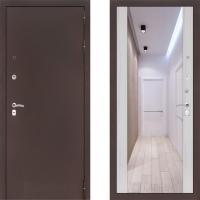 Входная металлическая дверь Labirint Classic медь с зеркалом макси Сандал Белый